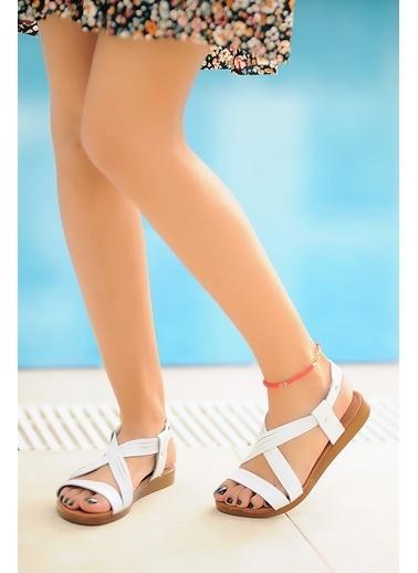 Pembe Potin A222-20 Kadın sandalet Beyaz